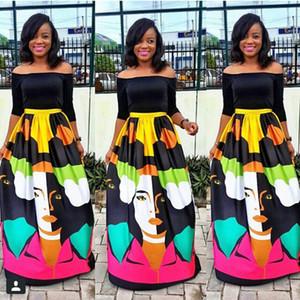 Les femmes d'été Creative visage de Sets Slash Pull à encolure Tops Jupe longue Vêtements Ensembles de design de haute taille Deux Piece Dress