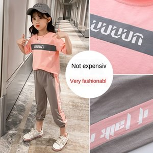 r4qbA 2020 girls contrast color mosaic sports Girls' clothes contrast color summer clothes two-piece suit middle and high school students su