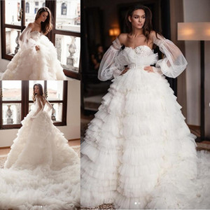 Milla Nova Royal Ruffles Wedding Dresses with Remove Long Sleeve 2020 Lace Applique Tiered Skirt Beach Princess Wedding Gown