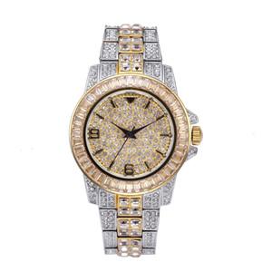 Top ICED OUT reloj de cuarzo de oro HIP HOP Relojes con Micro Pave CZ Horas acero inoxidable refinado pulsera de reloj