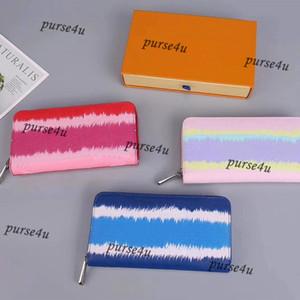Pastell Zippy Geldbörse mit Kasten für Damen Designer Wallets Luxus Kleinlederwaren für Frauen Krawatten-Zip Geldbörse mit Kasten zum Verkauf