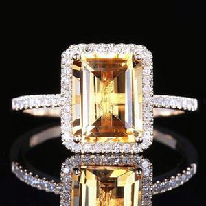 Tu sei unico nella gioielleria Gifts World Exquisite Solitaire Rings 14K placcato platino esagerazione Giallo Bling Bling donne anello brillante