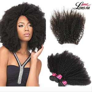 Peruvian Afro Kinky Curly Hair bundles afro kinky virgin hair with free part 4*4 closure Indian afro kinky human hair extension