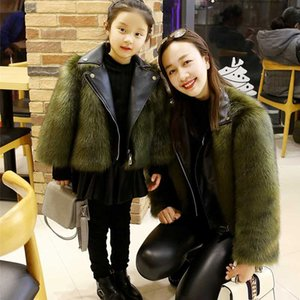 2020 Winter New Fashion Children Fur Coat Girls Thick Cotton-Padded Clothes Short Style Leather Jacket Patchwork Warm Outerwear