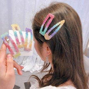 2020 Ins rainbow crystal women hair clips fashion designer hair clips sweet women barrettes hair accessories for women BB clips