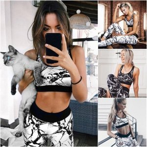 Женская одежда комплект из 2 частей женский модный принт спортивный костюм для йоги летний новый стиль модный спортивный костюм 2 цвета новый спортивный костюм Vogue