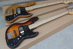 free shipping jazz bass guitar,4 string electric bass,ASH body, maple neck,chrome hardware,sunburst\wood bass,active battery pack