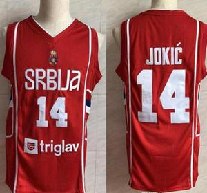 Ricamo Punti Jersey poco costosa camicie goccia sport di vendita calda squadra europea 14 Nikola Jokic Serbia Jersey di pallacanestro maschile STITCHED