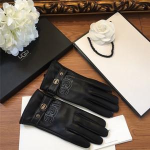 Gants en cuir véritable pour dames style simple Gants chauds de femmes pour Gants d'hiver en plein air Mode Sheepskin