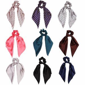 Filles Ties Cheveux solides cheveux Satin Accessoires Style Coréen enfants Ins doux Bandeaux 35 couleurs long ruban Scrunchie extensible Bandeaux