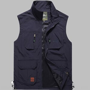 a9nmf Autumn male middle-aged and elderly vest multi-pocket quick-drying waterproof multi-functional outdoor loose large size casual fishing