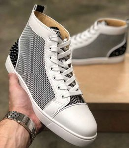 Luxury Designer Red Bottom Spikes III Men High-top Sneaker Shoes Mesh Leather Trainers Studs Perfect Brands Women Rivets Casual Flats