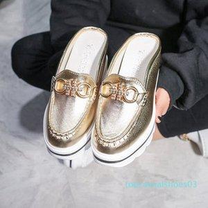 ANOVISHANA 2019 mulas mulher sapato cunhas sandálias de salto strass cadeia fivela Plataforma verão SHIGH chinelos escorregas t03 ouro, prata