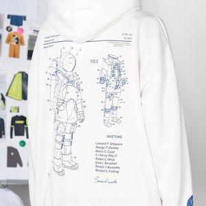 ins coat hoodie Super fire tide nasa astronaut hooded loose hip-hop sweater men's velvet sports hoodie coat
