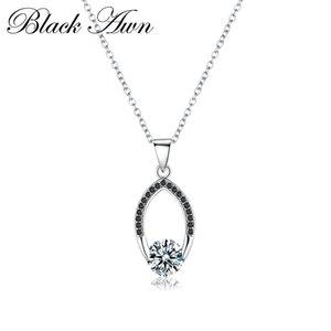 [BLACK AWN] Echte 925 Sterling Silber Schmuck Frauen Slide Halsketten-Anhänger Silber 925 Schmuck P086
