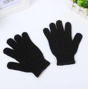 Цвет черный пилинг перчатки скруббер пять пальцев отшелушивающий загар удаление ванна рукавицы Пэдди мягкое волокно массаж ванна перчатки очиститель LX1193