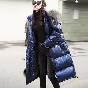도매 - 새로운 여성 롱 코트 파카 여성 광택 겨울 따뜻한 두꺼워 가짜 모피 코트 실버 다운 재킷 후드 재킷 코트