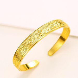 (69BA) مجوهرات الزفاف Dragon and Phoenix Bangle Jewelry 24 كيلو مطلية بالذهب للنساء لتصميم خاص نيكل وخالية من الرصاص