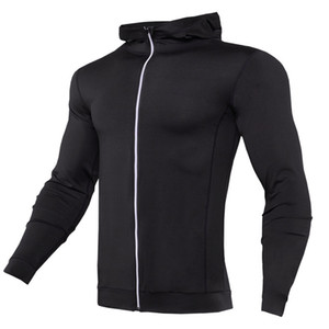 Thin Hooded Mens Running Jacket Zipper Hoodie Bodybuilding Gym Ropa Hoody Coat Compresión Tight Workout Hooded Jackets hombres