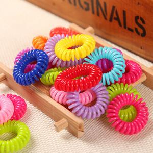 Anillos de pelo del color del caramelo Teléfono bobina Diseño sostenedor del Ponytail Hairbands colorido del pelo del lazo elásticos BraceletsT2C5222
