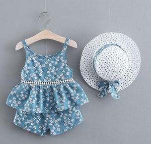 Baby Girl Kids Ropa de verano Conjuntos Full Flower Print Twinder Shirt + Short + Hat Summer Girl Sets