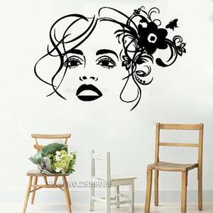 Cara da menina de flor de parede vinil decalque do salão de beleza de maquiagem Stickers Art Murais Home Decor Decalque Paredes Posters