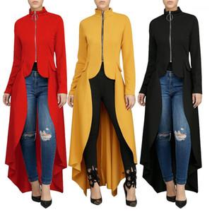 عدم انتظام اللباس Vestidoes ملابس النساء خلع الملابس الصلبة ملابس اللون طويل الربيع الخريف صالح سليم