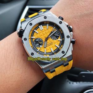 Высокое качество Royal Diver 42mm 26703ST.ОО.A051CA.01 Автоматический Желтый Циферблат Мужские Часы Корпус Из Нержавеющей Стали Резиновый Ремешок Сапфир Спортивные Часы