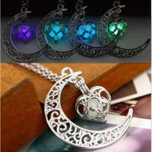 Moda brillare Moon collane di pietra luminosa Glow in the dark collana pendenti diffusore di olio essenziale per le donne ragazze gioielli regalo