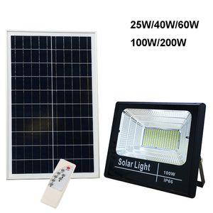 Güneş Taşkın Işık 25W 40W 60W 100W 200W Spotlight Bahçe Sokak Garaj Park Panel Outdoor ile Yard Lambası IP66 Beyaz Oto LED Solar Lamba