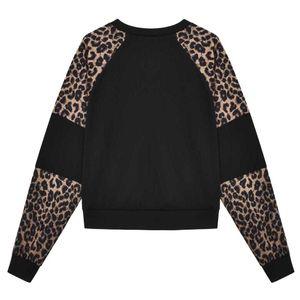 Womens Langarm Leopard Spleißen O Neck Lässige Sweatshirt Top Pullover Lässige Kapuzenpulli Weibliche Lange Hülse
