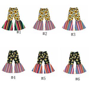 6styles Mädchen Schlaghose Kids Sunflower Printed bell-bottom Hose-Baby-elastische Gurt-Hose-Kleinkindblumen beiläufige Hosen GGA3415