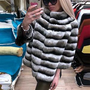 Chinchilla Fur Femme Veste en cuir véritable 2020 New court manteau de fourrure manteau naturel Rex femmes hiver chaud Thichk