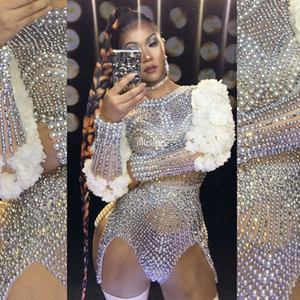 Luxe Perles Strass Fleur Sleeve Bodysuit Femmes Sexy Performance Chanteur Party scène Jazz Dance Costume Anniversaire Club Wear