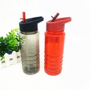 Botella transparente al por mayor Negro plástico barato de deportes acuáticos con pajillas para acampar al aire libre Senderismo