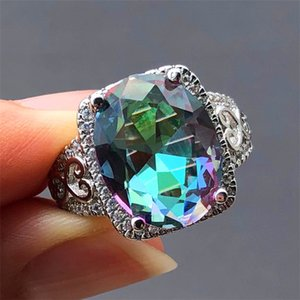 Anel Oval Wedding Bands Luxo Feminino Big arco-íris bonito de jóias CZ Stone Anel Moda anéis de casamento do vintage para Mulheres