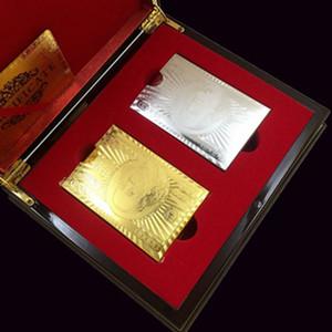 De lujo tarjetas de la hoja de oro del dólar tarjetas del póker colección determinada del Euro Jugando Pókers libra impermeable con la caja roja para el regalo de envío