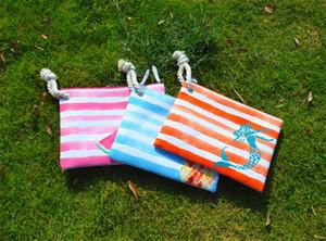 50 pezzi 2018 donne tela anguria frutta patten flap strisce borse da spiaggia 5 colori borse da donna cerniera cosmetici