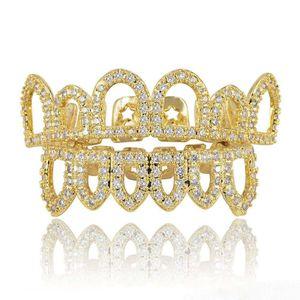 أسنان الذهب الهيب هوب الذهب الحمالات الشرير نساء الحزب الرجال الأسنان الديكور مجوهرات الجوف خارج الصغرى، مطعمة الساخن