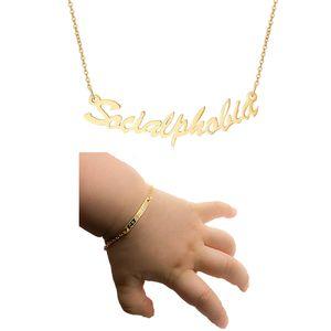 Or Personnalisé Nom Bébé Cadeau De Baptême En Acier Inoxydable Bracelet Personnalisé Bracelet Collier Ensemble De Bijoux cadeau pour la Fête Des Mères