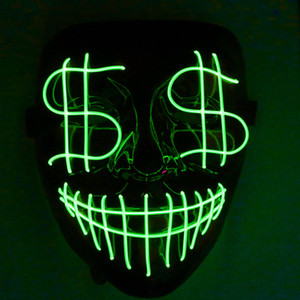 Halloween Christmas Leading Night Night Mask Light Dollar Grimace Bloody EL Line Party Mask Club Bar DJ Light Mask Portada Completa Led
