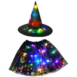 Kids Girls Wizard Witch Hat Spider Web Cobweb Skirt Tutu Halloween Light Glow Party Supplies Led Party Led Clothes Birthday Gift