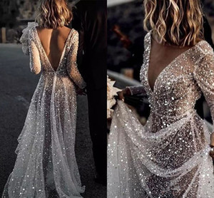 Elegant Sequin Beach Wedding Dresses 2020 Shining Illusion Mariage Boho Vestido De Noiva Bohemian Bridal Gowns Long Sleeves