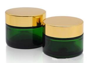 50g altın ile 50 ml yeşil cam kavanoz siyah gümüş beyaz kapak kap kozmetik krem balmumu cam konteyner stash kavanoz özel logo