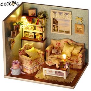 CUTEBEE casa de muñecas en miniatura de bricolaje Casa de muñecas con muebles de madera Casa juguetes para los niños regalo de cumpleaños H07 Y200413