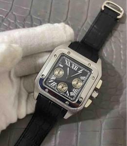 정품 가죽 드레스 캐주얼 최고 품질의 고급 석영 시계 DAY 날짜는 전체 기능 시계 가죽 베젤 나비 손목 시계 망