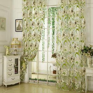 Взрыв Стиль белая полоса Цветок Rotten Длинный занавес тюль окно экрана Спальня Гостиная Light Curtain