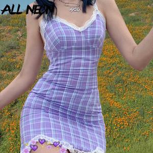 ALLNeon e-kız Ekose Halter V yaka Dantel Hem Mini Elbise Y2K Moda Sweet Spagetti Askı Backless Yaz Elbise Streetwear Parti