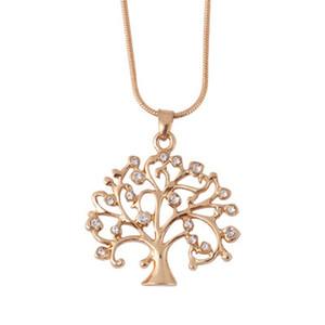 Tree of Life kolye kolye Kadınlar Kristal Rhinestone Charm Bildirimi kolye Noel Hediyesi Bijoux Uzun Zincirli Kolyeler Takı