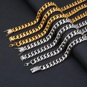 KALEN Punk Gold Silver Cuban Chain Chole Men Stainless Steel Cubic Zircon 50cm 60cm 65 cm 71 m Long Choker Male Marjework
